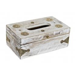 Caja para pañuelos de madera mango laton decape