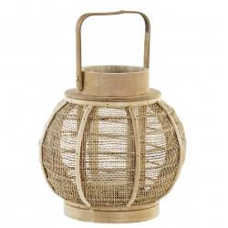 Farol portavela de bambu natural cuerda clásicos para decoración
