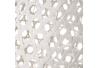 Lámpara de mesa de rejilla shabby chic de bambú y metal blanca, de ø 20x36 cm