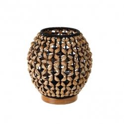 Lámpara de mesa trenzada exótica de fibra natural y metal negra y beige, de ø 20x23 cm