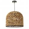 Lámpara de techo trenzada exótica de fibra natural y metal negra y beige, de ø 36x31 cm