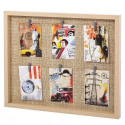 Portafotos con pinzas múltiple industrial beige de madera para dormitorio Factory