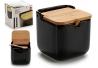 Salero y azucarero de cocina negro basic con tapa de bambu , azucarero cucharita incluido