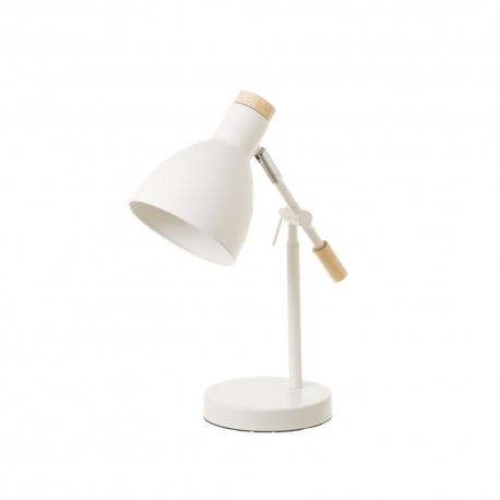 Lámpara flexo de escritorio nórdica de metal y madera blanca de 36 cm