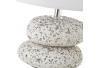 Lámpara de mesita de noche de piedras exótica con mosaico de cerámica blanca de 24 cm