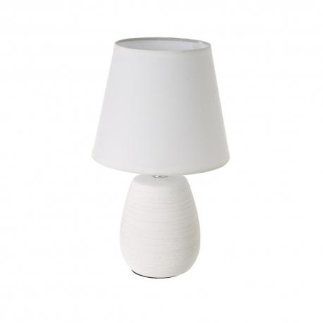 Lámpara de mesa con tulipa rústica de cerámica blanca, de ø 17x27 cm