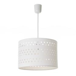 Lámpara de techo tallada con rombos contemporánea de algodón y PVC blanca, de ø 30x20 cm