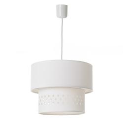 Lámpara de techo con tulipa doble contemporánea de algodón y PVC blanca, de ø 30x23 cm
