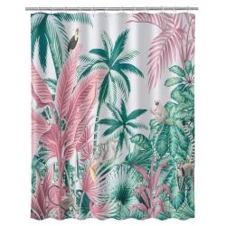 Cortina de baño jungla exótica rosa de poliéster, de 180x200 cm
