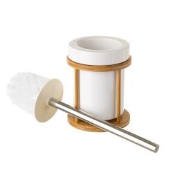 Escobillero de baño redondo blanco de cerámica y bambú, de ø 12x39 cm