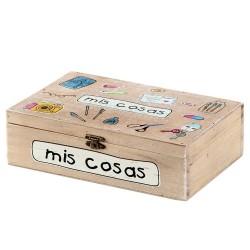 Caja rectangular original pino diseño frase MIS COSAS 16 x 24 x 7 cm