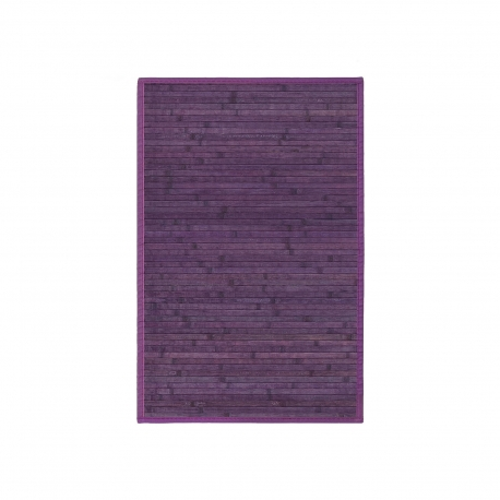 Alfombra pasillera de bambú lila de 90x60 cm