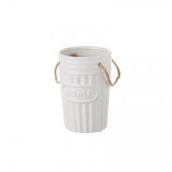 Jarrón floreros de cerámica blanco de diseño rústico para decoración