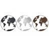 Juego de 3 Decoracion pared metal mapa mundo 100cm