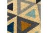 Felpudo abstracto geométrico multicolor contemporáneo de fibra de coco natural de 40x60 cm