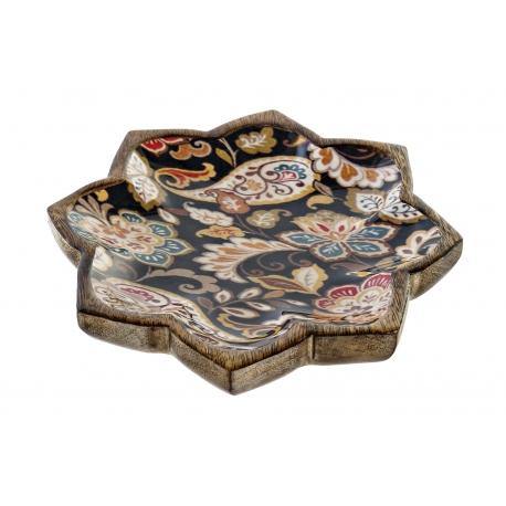 Bandeja vaciabolsillos de madera floral