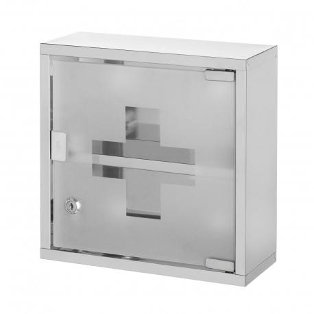 Armario botiquin acero inoxidable con puerta cristal