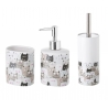 Conjunto Set baño 3 piezas ceramica de gatos grises