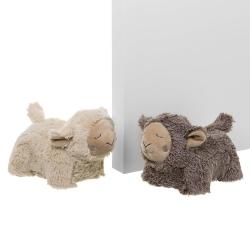 Juego de 2 sujetapuertas oveja rústico beige de tela / arena de 17x15x25 cm