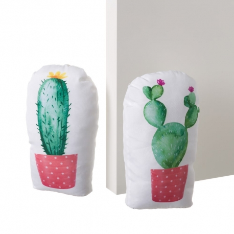 Set 2 Sujetapuertas de tela / arena cactus rosa