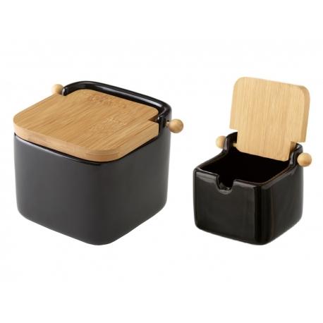 Salero y azucarero de cocina negro de ceramica con tapa de bambu .