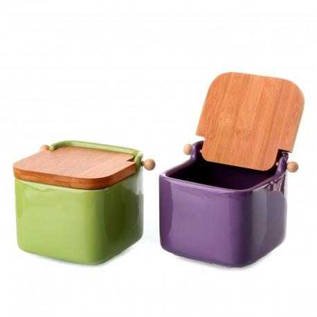 Salero 2/c cerámica con tapa de bambú. 12x12x11cm