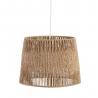 Lámpara de techo con tulipa forrada rústica de fibra beige de 26x35x35 cm