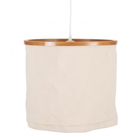 Lámpara de techo colgante grande exótica de bambú y algodón en blanco y natural, de Ø 36x31 cm