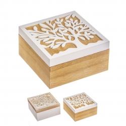 Juego de 2 caja de madera troquelada