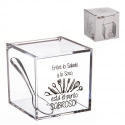 Salero acrilico de cocina super original con diseño frases .