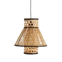 Lámpara de techo con rejilla exótica de bambú negra y natural de 34x33x33 cm