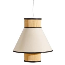 Lámpara de techo con tulipa doble exótica de bambú blanca y natural de 40x38x38 cm
