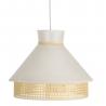 Lámpara de techo con rejilla vintage de lino blanca y natural de 31x40x40 cm