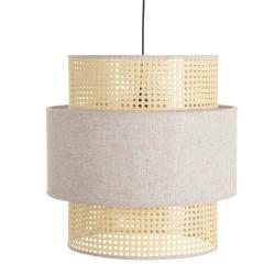 Lámpara de techo con rejilla vintage de tela y rattán beige de 44x45x45 cm