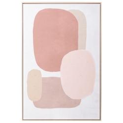 Lienzo abstracto contemporáneo fotoimpreso de madera marrón y beige de 122x82 cm