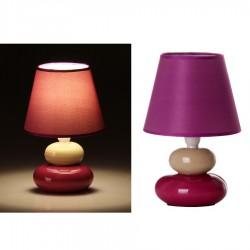 Lámpara para mesita de noche moderna lila-crema de cerámica