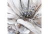Cuadro cubrecontador con flor contemporáneo de lienzo blanco y beige, de 50x35 cm