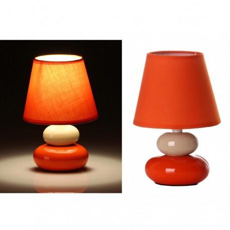 Lámpara para mesita de noche pop crema-naranja de cerámica para dormitorio Arco Iris