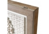 Cuadro cubrecontador con relieve exótico de lienzo blanco y natural, de 50x35 cm