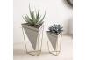 Soporte decoracion, para maceta o decoracion mesa diseño geométrico, Blanco / Dorado