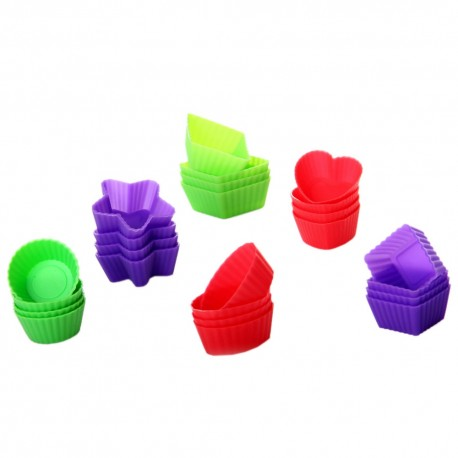 S/24 molde chocolate 3/c silicona 4 x 4 x 1,50 cm morado, rojo y verde.