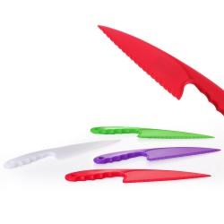 Cuchillo pastelero 4/c plástico 29 x 6 x 1 cm blanco, verde, rojo y morado. oferta pack 4