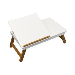 Bandeja cama plegable con patas madera blanco con tapa elevable