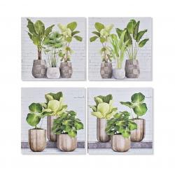 Set 4 cuadro lienzo macetas plantas verdes 40x40 cm