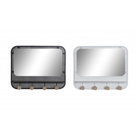 Set 2 Perchero pared metal con espejo negro blanco factory 4 corgadores