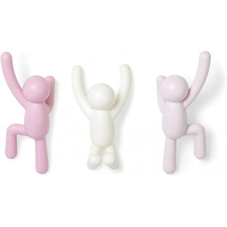 Soporte 3 ganchos de pared multi-color rosa buddy para colgar abrigos, bufandas