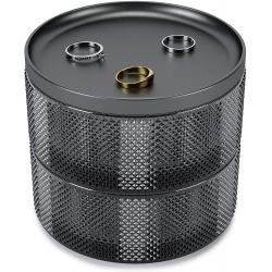Organizador de joyas, caja joyero de almacenamiento de dos niveles con tapa extraíble, color gris