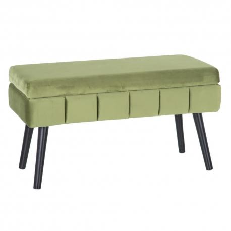 Banqueta baúl de terciopelo, contemporánea en verde, de 79x37x42 cm