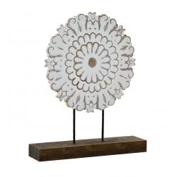 Decoracion sobremesa madera mandala tallado 30x7x35 cm