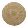 Alfombra redonda de fibra natural beige rústica para dormitorio de 90 cm France